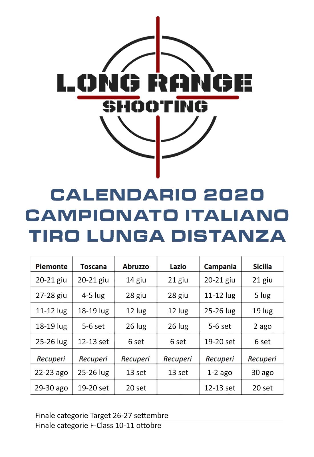 Calendario Campionato Italiano TLD 2020 new
